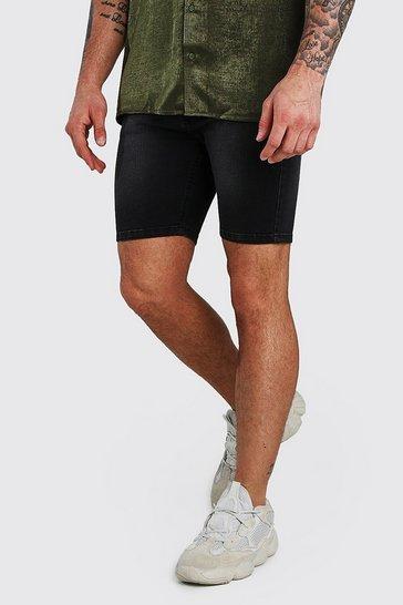 Charcoal Stretch Skinny Denim Short