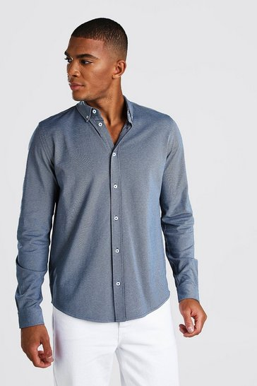 Blue Long Sleeve Regular Collar Pique Shirt With Cuff