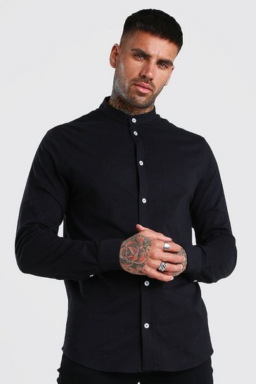 Black Long Sleeve Grandad Pique Shirt With Cuff