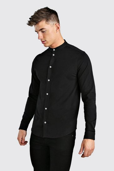Black Long Sleeve Grandad Jersey Shirt With Cuff