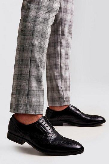 Black Faux Leather Brogue Detail Formals
