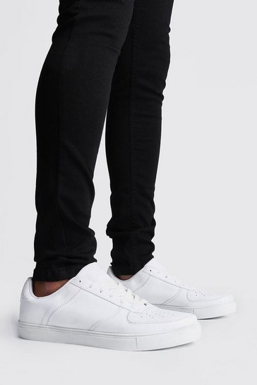 White Lace Up Perforated Toe Trainer