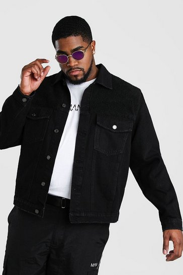 Black Big And Tall Denim Jacket With Borg Panel
