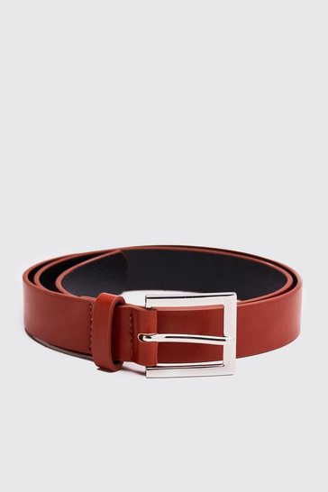 Tan Leather Look Square Buckle Belt