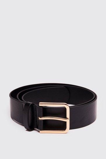 Faux Leather Square Black Buckle Belt