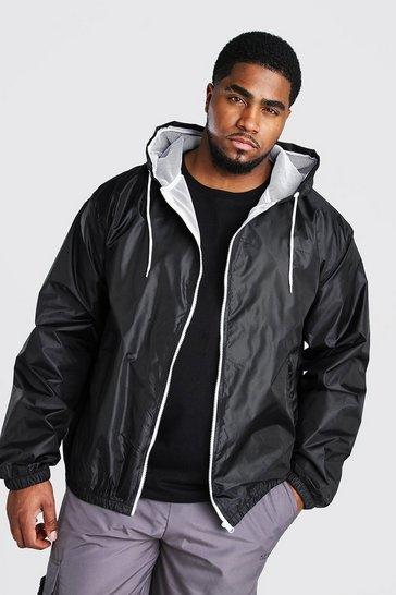 Black Big And Tall Hooded Zip Through Jacket