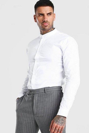 White Grandad Collar Long Sleeve Cotton Poplin Shirt