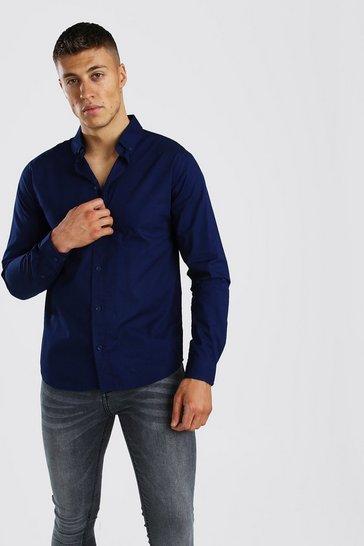 Navy Long Sleeve Cotton Poplin Shirt