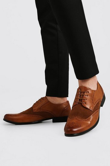 Tan Mix Material Brogue