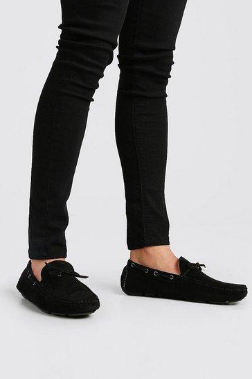 Black Faux Nubuck Driving Shoe
