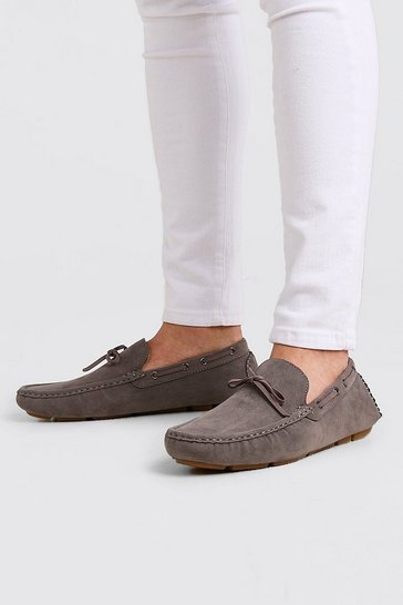 Grey Faux Nubuck Driving Shoe