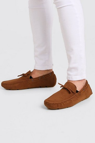Tan Faux Nubuck Driving Shoe