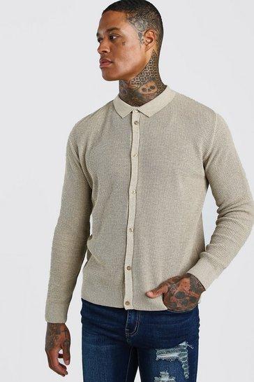 Stone Button Through Knitted Shirt