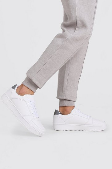 White Reflective Detail Lace Up Trainer