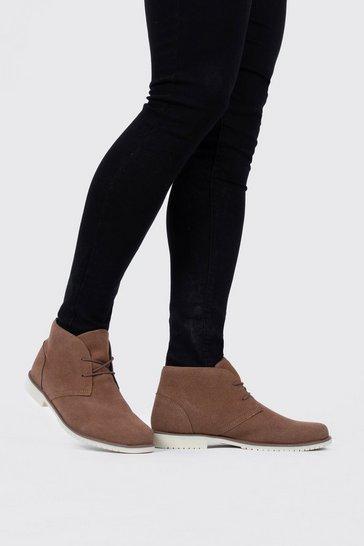 Tan Faux Suede Desert Boots