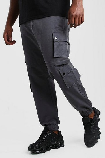 Charcoal Big And Tall Shell Cargo Joggers