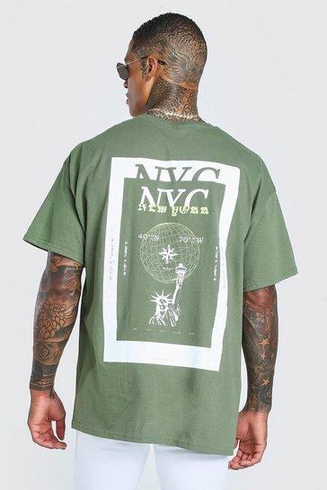 Green NYC Back Print Oversized T-Shirt
