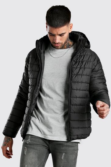 Black Quilted Zip Through Puffer Jacket