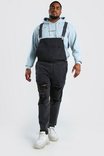 Charcoal Big And Tall Dungaree With Distressing