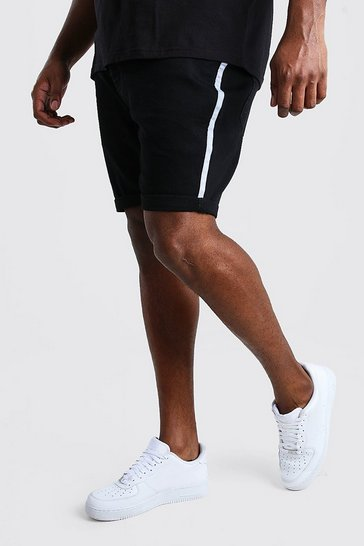 Black Big And Tall Skinny Denim Short With Side Tape