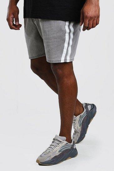 Grey Big And Tall Slim Denim Short With Stripe
