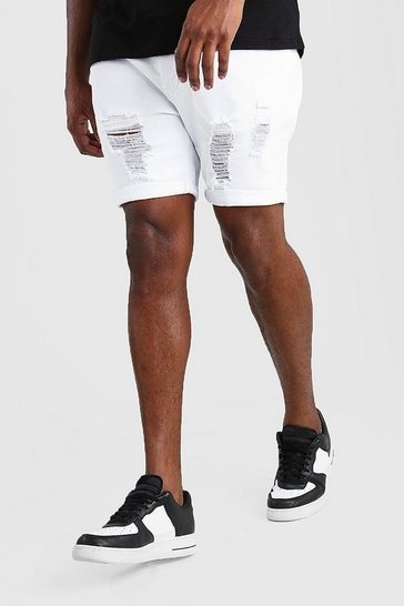White Big And Tall Skinny Distressed Denim Short
