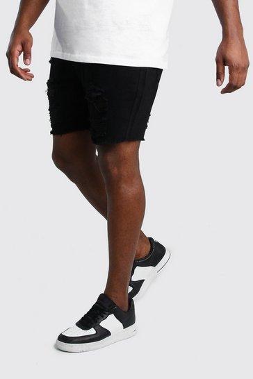 Black Big And Tall Slim Denim Short With Distressing