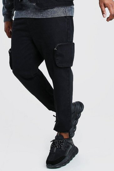 Washed black Big And Tall Skinny Fit Denim Jogger
