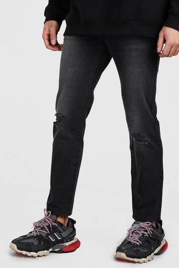 Black Slim Fit Jeans With Ripped Knees