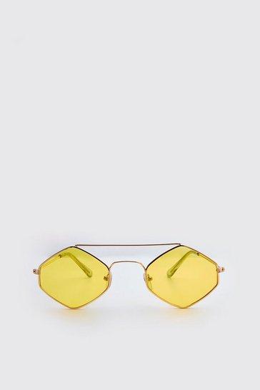 Yellow Metal Frame Diamond Sunglasses