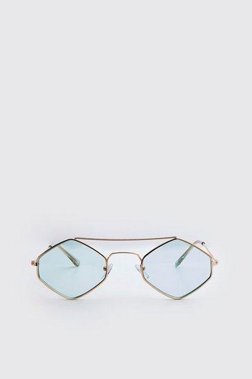 Blue Metal Frame Diamond Sunglasses