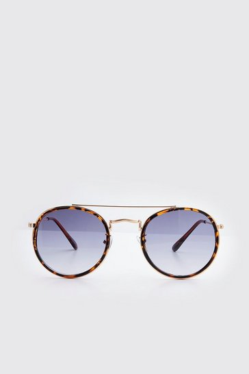 Brown Rounded Top Bar Sunglasses