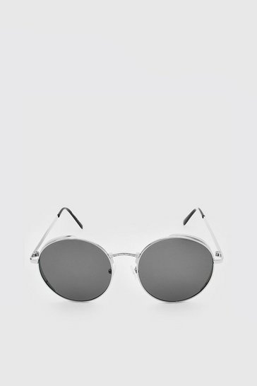 Silver Deep Edge Round Sunglasses