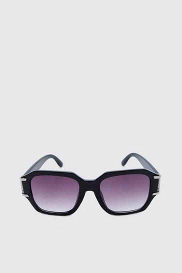 Black Metal Arm Detail Sunglasses