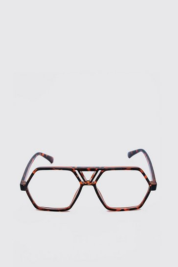 Brown Oversized Clear Lens Glasses