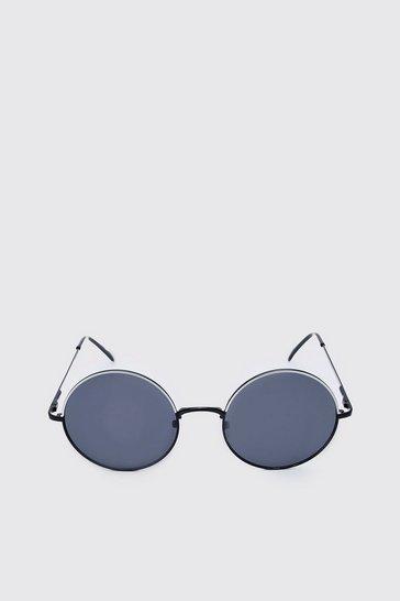 Black Narrow Edge Round Glasses