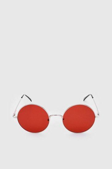 Red Narrow Edge Round Glasses