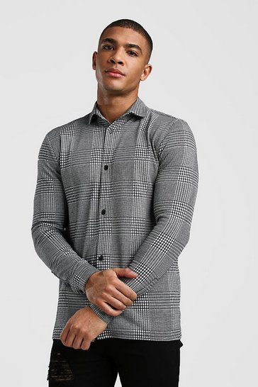 Grey Long Sleeve Muscle Fit Jacquard Check Shirt
