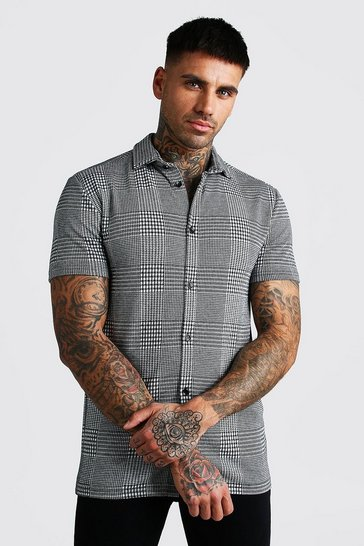 Grey Muscle Fit Short Sleeve Jacquard Check Shirt