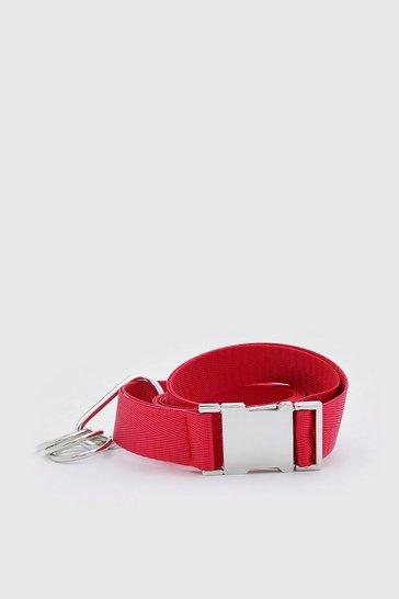 Red Carabiner Clip Release Buckle Belt