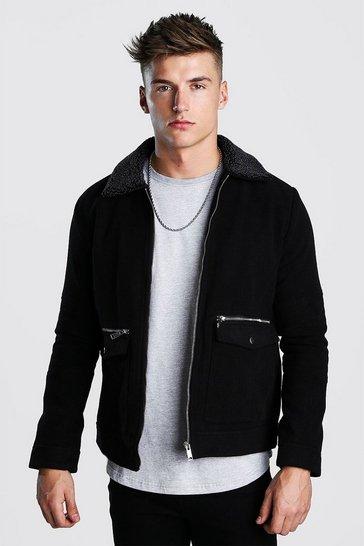 Black Wool Look Zip Through Bomber With Borg Collar
