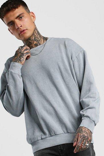 Light grey Oversized Sweatshirt In Acid Wash