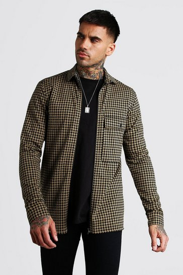 Tan Dogtooth Jacquard Zip Through Overshirt