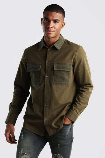 Khaki Cord Pocket And Collar Shirt
