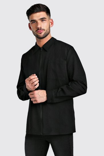 Black Long Sleeve Zip Through Smart Shirt
