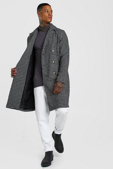 Black Check Double Breasted Long Overcoat