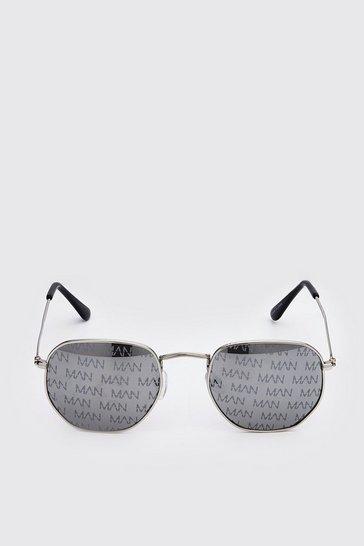 Black MAN Print Hexagon Sunglasses