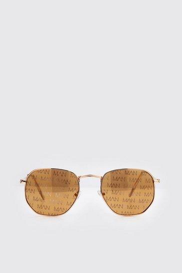 Brown MAN Print Hexagon Sunglasses