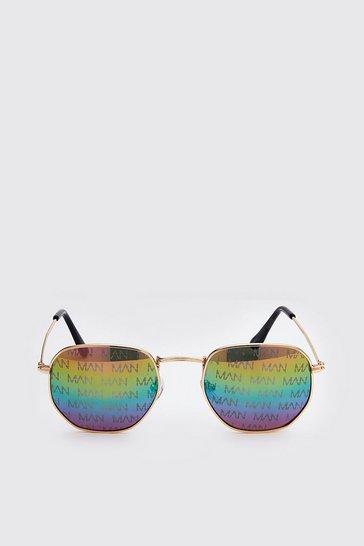 Multi MAN Print Hexagon Sunglasses