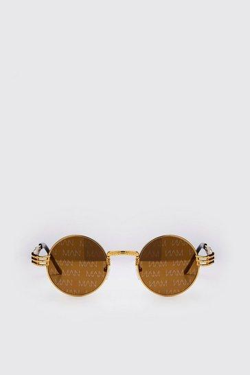Brown Boohoo MAN Vintage Style Sunglasses